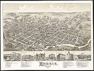 Muncie, Indiana - Illustration of Muncie, looking southeast in 1884.