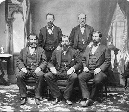 "The ""Mussel Slough Five"", convicted in the wake of the tragedy. L-to-R: John D. Pursell, John J. Doyle, James N. Patterson, Wayman L. Pryor, and William Braden"