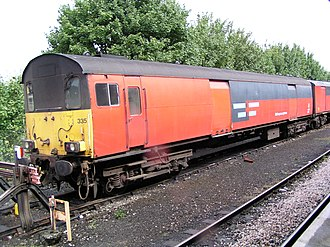 Rail Express Systems - Rail Express Systems livery as carried by Propelling Control Vehicle no. 94335 stabled at Plymouth on 29 August 2003