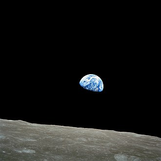Stewart Brand - Earthrise, by William Anders, Apollo 8, 1968