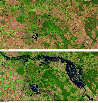 2002 European floods - Elbe flood 2002 before after