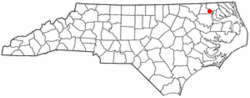Location of Harrellsville, North Carolina