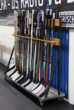 Hockey stick - Ice hockey sticks on a shelf