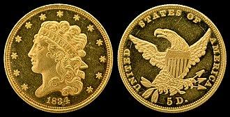 Half eagle - 1834 Classic Head half eagle