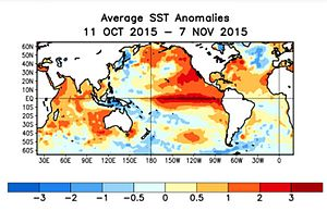 2014–16 El Niño event - The SST Anomalies Average for 11 October 2015 to 7 November 2015