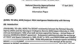 Global surveillance disclosures (2013–present) - Image: NSA Norway