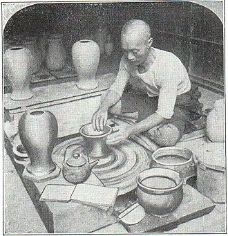 Japanese craft - Potter at his wheel (1914)