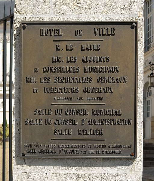 Plaque on the main portal of Nantes city hall - France