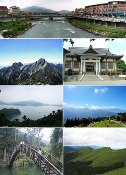 Top:Shuili Water Creek in Shuili Township, 2nd left:Mount Yu, 2nd right:Nantou County Museum of History in Nantou City, 3rd left:View of Sun Moon Lake, from Xuanzang Temple in Yuchi Township, 3rd right:Evergreen Glassland in Renci Township, Bottom left:Tou George Pond in Taiwan Educational University of Nature, Bottom right:Mount Hehuan