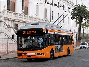 Trolleybuses in Naples - An AnsaldoBreda F19 of ANM at Piazza Carlo III