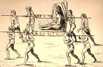Natchez revolt - 1758 drawing of the Natchez paramount chief Great Sun, by Antoine-Simon Le Page du Pratz