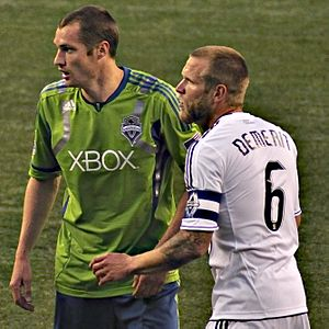 Jay DeMerit - DeMerit (right) defending against Nate Jaqua of the Seattle Sounders FC