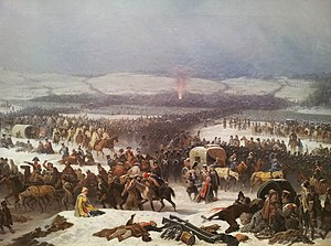 Total war - Napoleon's retreat from Russia in 1812. Napoleon's Grande Armée had lost about half a million men.