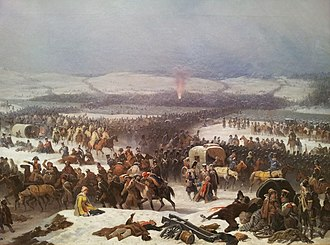 Battle of Berezina - Napoleon's crossing of the Berezina an 1866 painting by January Suchodolski oil on canvas, National Museum in Poznań