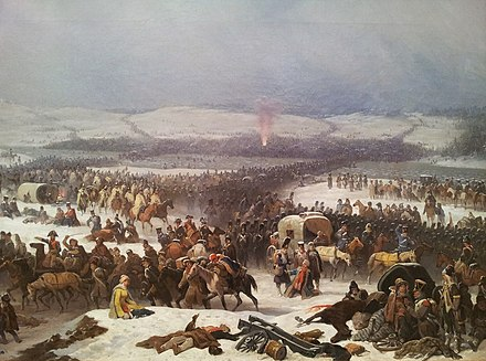 Napoleon's retreat from Russia in 1812. Napoleon's Grande Armee had lost about half a million men. National Museum in Poznan - Przejscie przez Berezyne.JPG