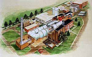 National Transonic Facility (Hampton, Virginia) - cutout view of NTF and the wind tunnel circuit