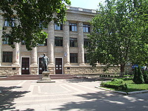 National Library of Moldova - National Library and Vasile Alecsandri statue by Ion Zderciuc