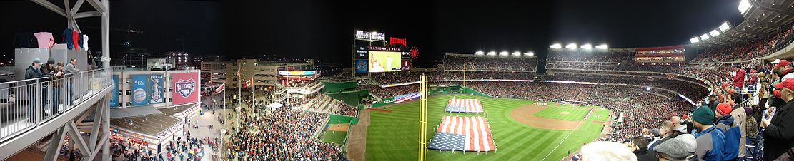 Panoramic view of Nationals Park on Opening Night, March 30, 2008.