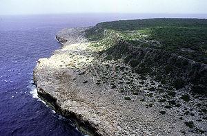 Luftaufnahme der Ostküste von Navassa