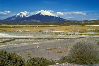Payachata mountain in Bolivia and Chile