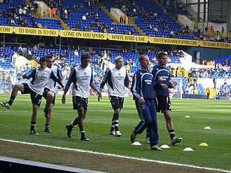 2007–08 Newcastle United F.C. season - Newcastle United players warming up at White Hart Lane prior to a Premier League match against Tottenham Hotspur, 30 March 2008