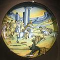 Ngv, maiolica di faenza, piatto con il salto di marco curzio, 1525-30.JPG