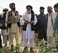 Niaz Sarhadi, center, governor of the Zharay district, stands with the district chief of police and other key elders at a marijuana eradication event in central Zharay district, Afghanistan, Sept 110905-A-SW743-002.jpg