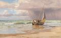 Niels Frederik Schiøttz-Jensen - Parti fra Lønstrup med fiskere ved deres kutter på stranden - 1898.png