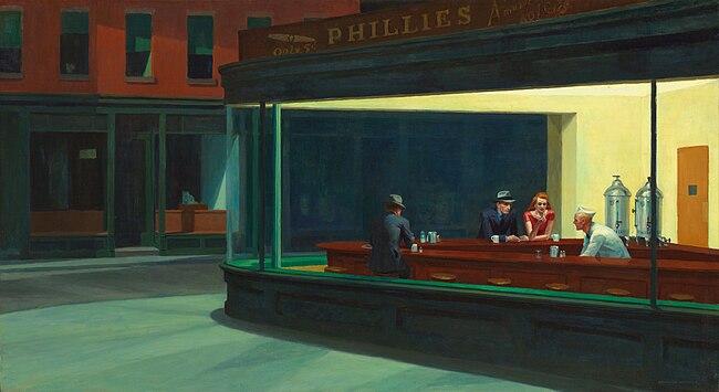 """""""Nighthawks"""" by Edward Hopper, 1942"""