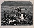 Nocturnal scene on a battlefield;a woman nursing a wounded s Wellcome V0041900.jpg