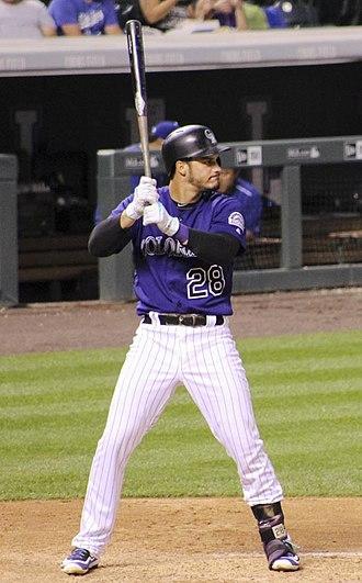 Nolan Arenado - Nolan Arenado during an at bat at Coors Field