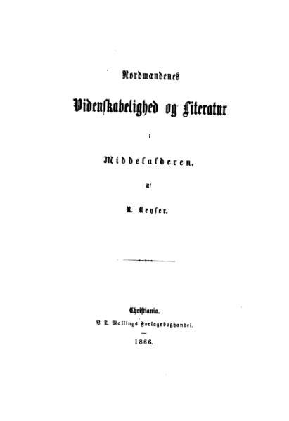 File:Nordmændenes Videnskabelighed og Literatur i Middelalderen.djvu