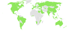 Anthony Bourdain: No Reservations - Countries in green have been visited on the show at least once as of episode 132.