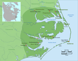 Secotan - Distribution of Carolina Algonquian speaking peoples 1657-1795