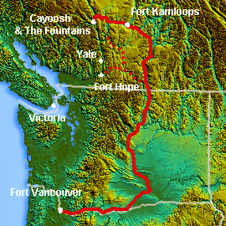 Okanagan Trail - Route of the Okanagan Trail.  Dotted lines are alternate routes to the lower Fraser Canyon