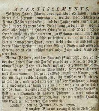 Neue Zürcher Zeitung - Research notice published for Anna Göldin accused of witchcraft in the Zürcher Zeitung on 25 January 1782.