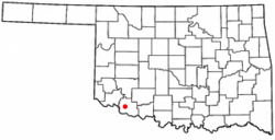Location of Frederick within Oklahoma