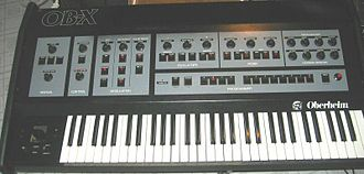 Rush (band) - An Oberheim OB-X synthesizer, as used by Geddy Lee on the albums Moving Pictures and Signals.