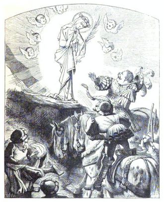 """Self-parody - John Tenniel's 1864 illustration for """"The Lay of St. Odille"""" in The Ingoldsby Legends has been called """"a very mild and good-natured parody"""" of his own painting of St. Cecilia (below). In both, the saint rises above the other figures and produces """"a spiritual glow"""". The arc of cherubs replaces the arch with cherubs in St. Cecilia, and the dirt bank replaces a marble pedestal. Also, the fat man at right is taken from a trumpeter in another illustration by Tenniel, for John Milton's """"L'Allegro""""."""