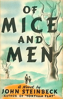 Book cover illustration of two men walking along a dirt path between grass and a few trees