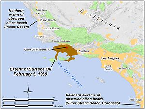 1969 Santa Barbara oil spill - Extent of the spill on the ocean surface on February 5, 1969, showing the northward and southward extremes of observed oil during the year.