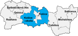 Location of Košices apkārtnes apriņķis
