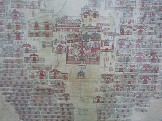 Ulaanbaatar - Detail of 19th-century painting of Urga (Ulaanbaatar): in the centre the movable square temple of Bat Tsagaan, built in 1654, besides numerous other temples