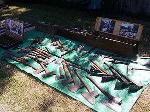 Axe - A collection of old Australian cutting tools including broad axes, broad hatchets, mortising axes, carpenter's and felling axes. Also five adzes, a corner chisel, two froes, and a twibil
