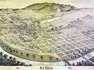 El Paso, Texas - Map of the city in 1886