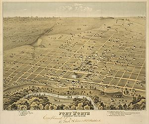 Fort Worth, Texas - Lithograph (1876)