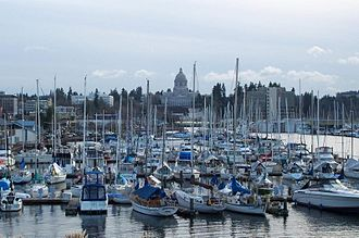History of Olympia, Washington - A view from Percival Landing looking towards the Washington State Capitol.