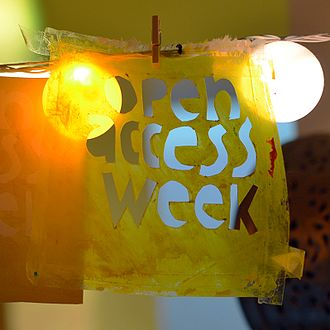 """Open Access Week - A stencil and a card with the text """"Open Access Week"""""""