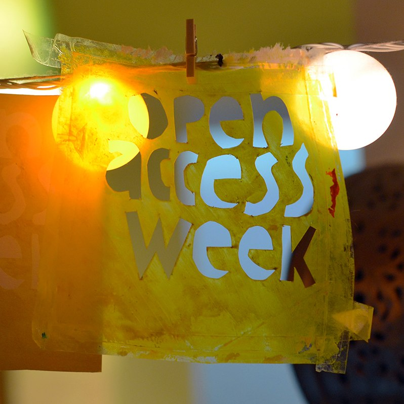 Open Access Week stencil and card made from stencil (square)