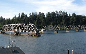 Coos Bay Rail Link - Among the line's many bridges are three swing bridges: this one in Reedsport, and others in Cushman and Coos Bay.